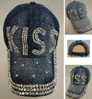 Denim Strapback Hat with Bling Bling [KISS]